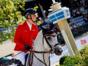 Für Max Kühner und seinen 12-jährigen Hannoveraner Schiimmerlhengst Chardonnay (Clarimo x Corrado I) geht es um eine Einzelqualifikation für die Olympischen Spiele in Tokio 2020. © Petra Kerschbaum
