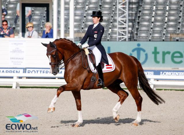 Astrid Neumayer und ihr Westfalen Wallach Sir Simon 12 lieferten mit ihrer Trabtour ein Highlight und scorten 68.727 % im Grand Prix. © Petra Kerschbaum