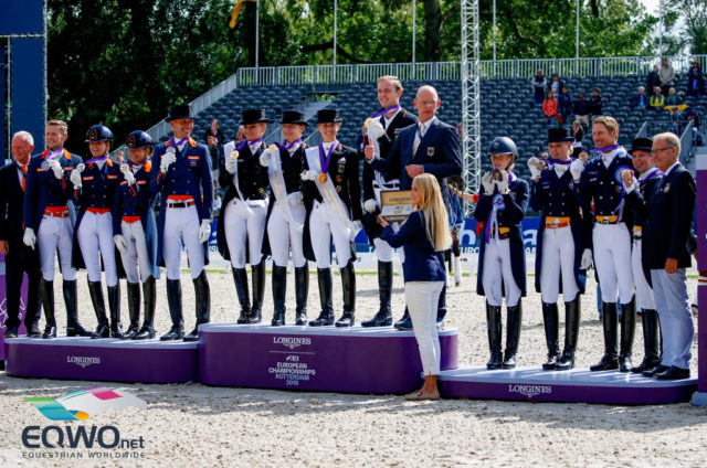 Die Top-Drei-Nationen bei der Dressur Europameisterschaft in Rotterdam 2019: Die Niederlanden, Deutschland und Schweden. © Petra Kerschbaum