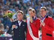 Die Top-3 dieser Europameisterschaften in Rotterdam 2019: Ben Maher (GBR) holte Silber, Martin Fuchs (SUI) gewann Gold und Jos Verlooy (BEL) holte Bronze. © Petra Kerschbaum