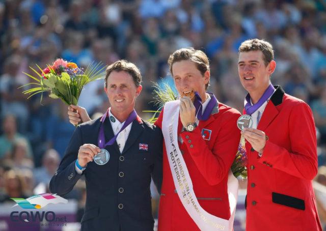Die Top-3 der Europameisterschaften in Rotterdam 2019: Ben Maher (GBR) holte Silber, Martin Fuchs (SUI) gewann Gold und Jos Verlooy (BEL) holte Bronze. © Petra Kerschbaum