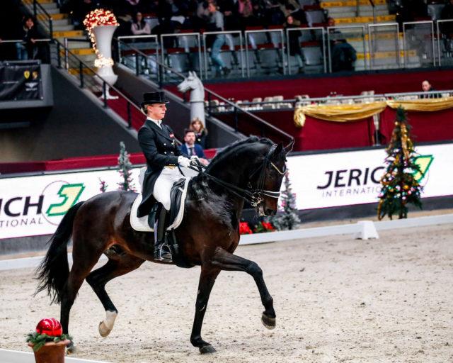 Beste Österreicherin im CDI4* Grand Prix bei den Amadeus Horse Indoors war Victoria Max-Theurer (OÖ) mit dem erst 9-jährigen Rockabilly. ©EQWO.net
