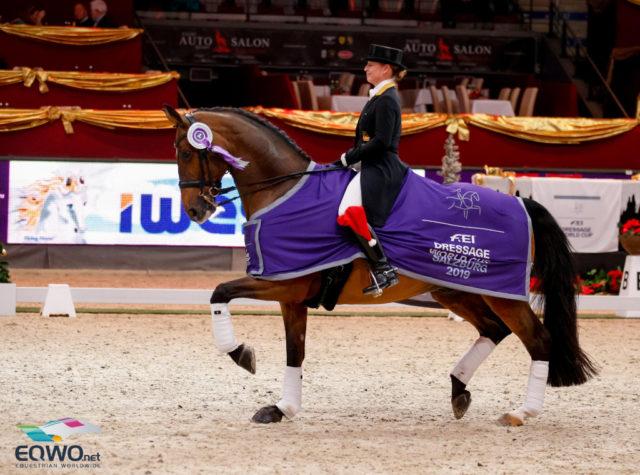 Die strahlende Siegerin im FEI World Cup Grand Prix von Salzburg: Isabell Werth (GER). © EQWO.net