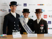 Die Top 3 bei der FEI Weltcup Dressur Kür in Salzburg: v.l. Benjamin Werndl (GER), Isabell Werth (GER) und Victoria Max-Theurer (AUT/OÖ). © EQWO.net