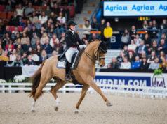 Cathrine Dufour (DEN) und Atterupgaards Cassidy gewannen mit 87,170% erneut den Weltcup von Göteborg. © FEI/Satu Pirinen
