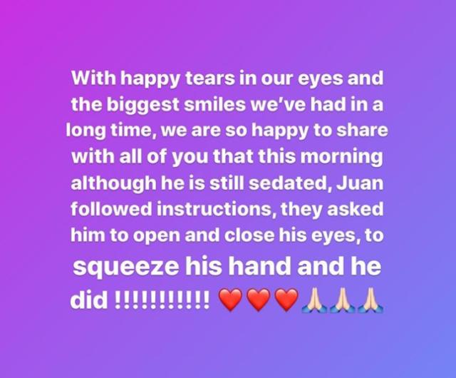 Juan Matute Guimon reagiert erstmals auf Anweisungen der Ärzte und öffnet die Augen nach zwei Wochen künstlichem Koma und zwei Gehirnoperationen aufgrund einer Hirnblutung. © IG: paula_matute_guimon
