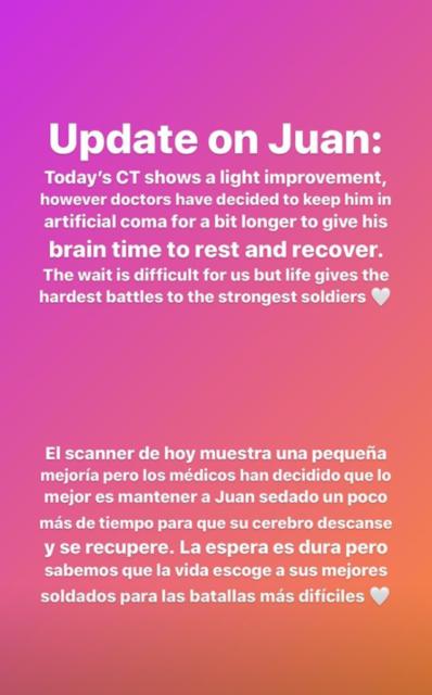 Update-Post von Paula Matute Guimon bezüglich ihrem Bruder Juan. Der 22-jährige Spanier liegt aufgrund einer Hirnblutung im künstlichen Tiefschlaf. © IG: paula_matute_guimon