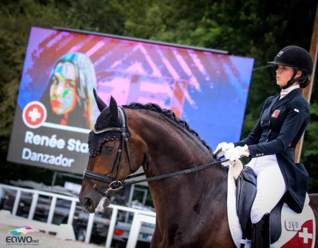 Die Junioren stellten bei der Europameisterschaft in Budapest (HUN) tolle Pferde vor, wie den Hannoveraner-Prämienhengst Danzador unter der Schweizerin Renée Stadler (SUI)! © Petra Kerschbaum