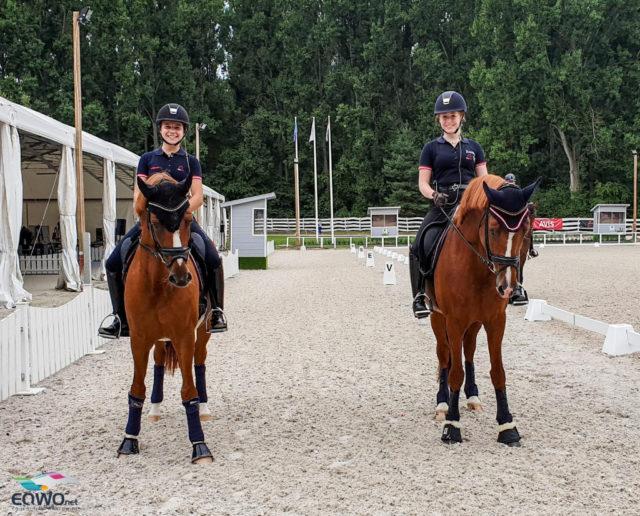 Pony-Staatsmeisterin Felicitas Simoncic (W) und Lilly Messner (OÖ) beim ersten Training in Budapest! © Petra Kerschbaum