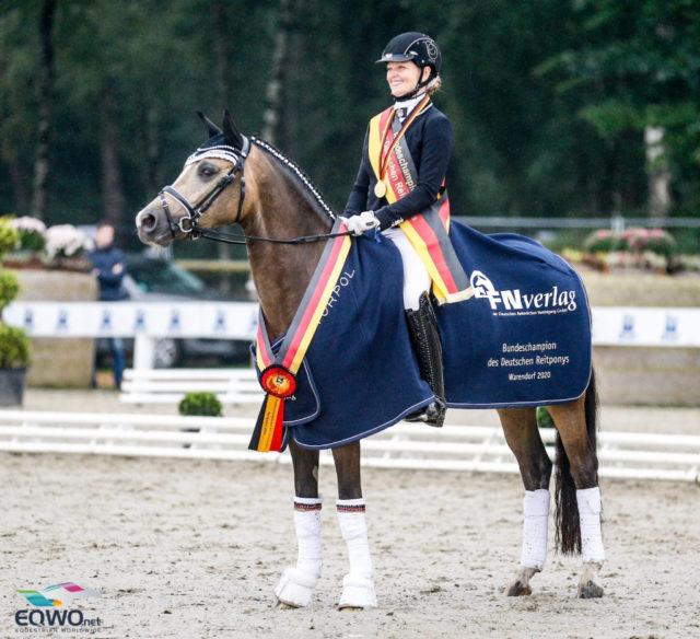 Herzose von Herzkönig wurde bei den dreijährigen Reitponys unter Danica Duen (GER) Bundeschampionesse. © Petra Kerschbaum