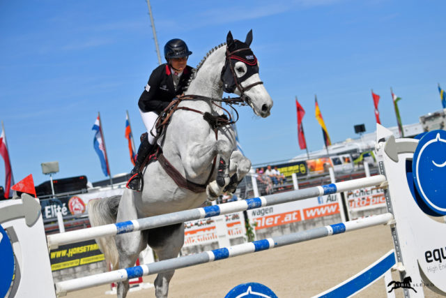 Die Überraschung des Tages war die Oberösterreicherin Romana Hartl auf Clarima! Sie blieben ohne Abwurf, nur ein Zeitfehler kostete ihr den Sieg in der 1. Etappe des equitron-pro Grand Prix of Austria. © Sibil Slejko