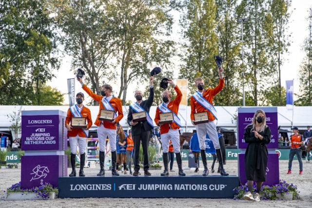 Maikel van der Vleuten, Marc Houtzager, Rob Ehrens, Willem Greve, Frank Schuttert CHIO Rotterdam 2021 Copyright FEI Leanjo de Koster